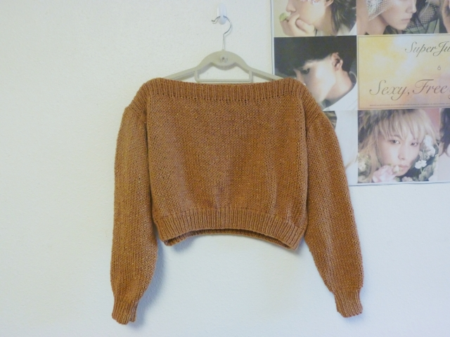 Cropped Boat Neck Sweater, my first sweater design, kind of