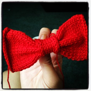 Pre-sewing version of my first bowtie.
