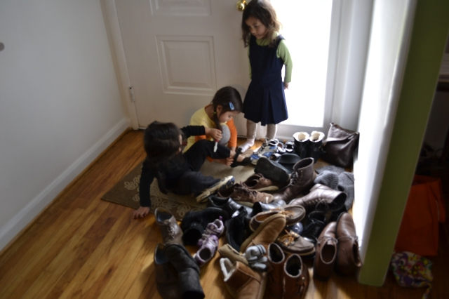 Three of my little cousins and ALL the shoes.